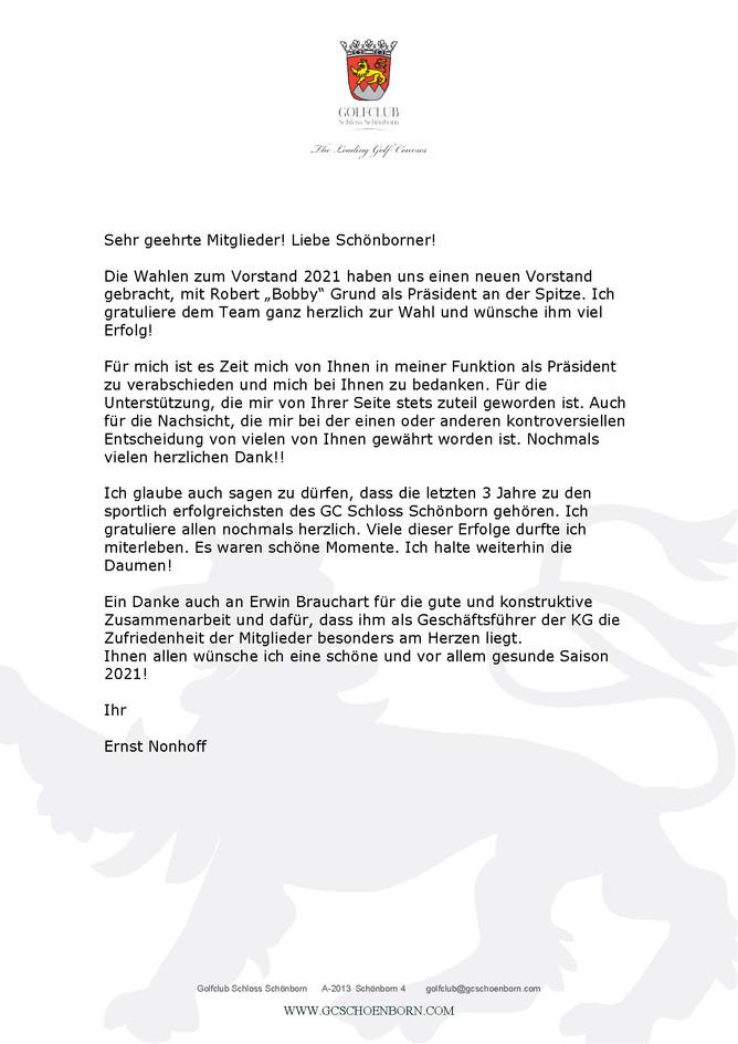 Abschiedsbrief von Herrn Dr. Ernst Nonhoff