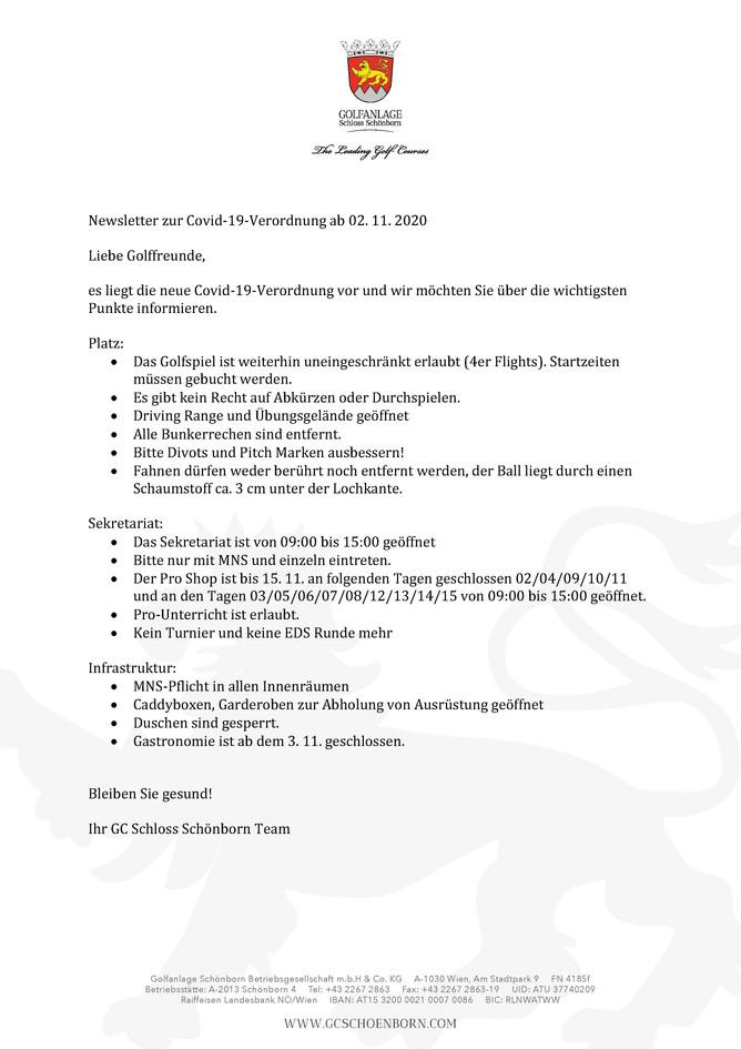 Newsletter zur Covid-19 Verordnung