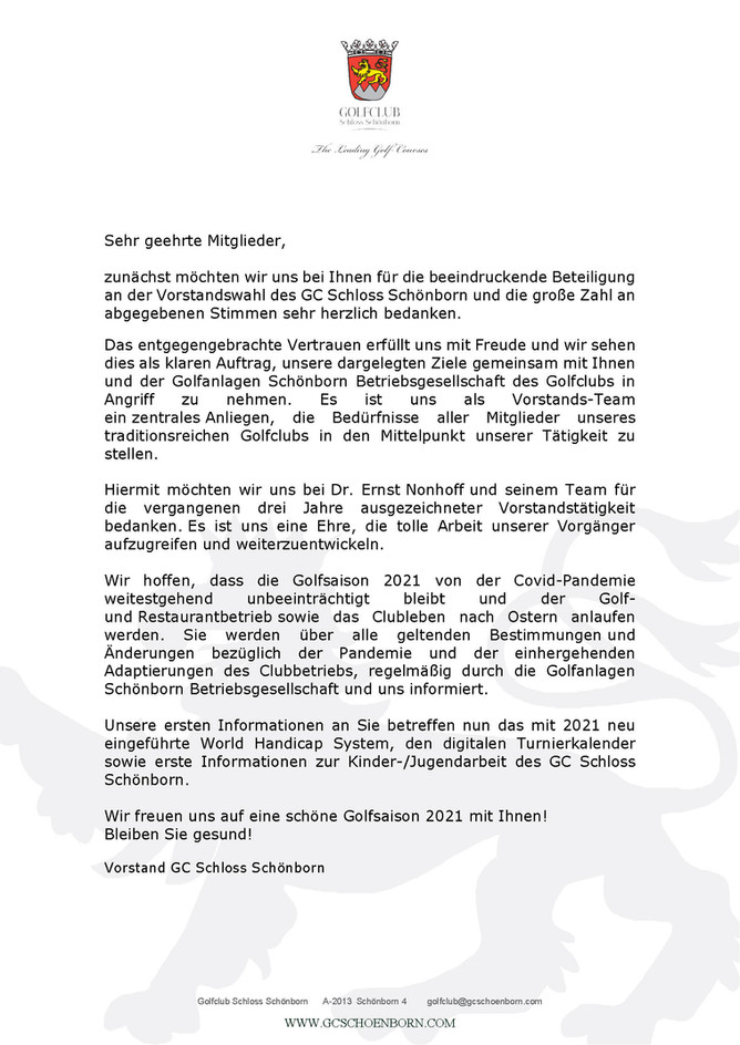 Dankesbrief vom Vorstand
