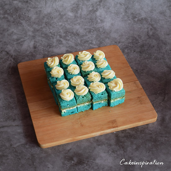 Blue Velvet with Cream Cheese Frosting .Canapes in a Box