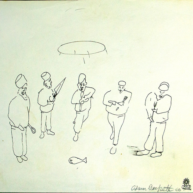 Sketch of men with fish