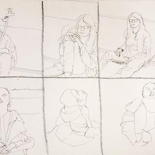 Six panels of life drawing
