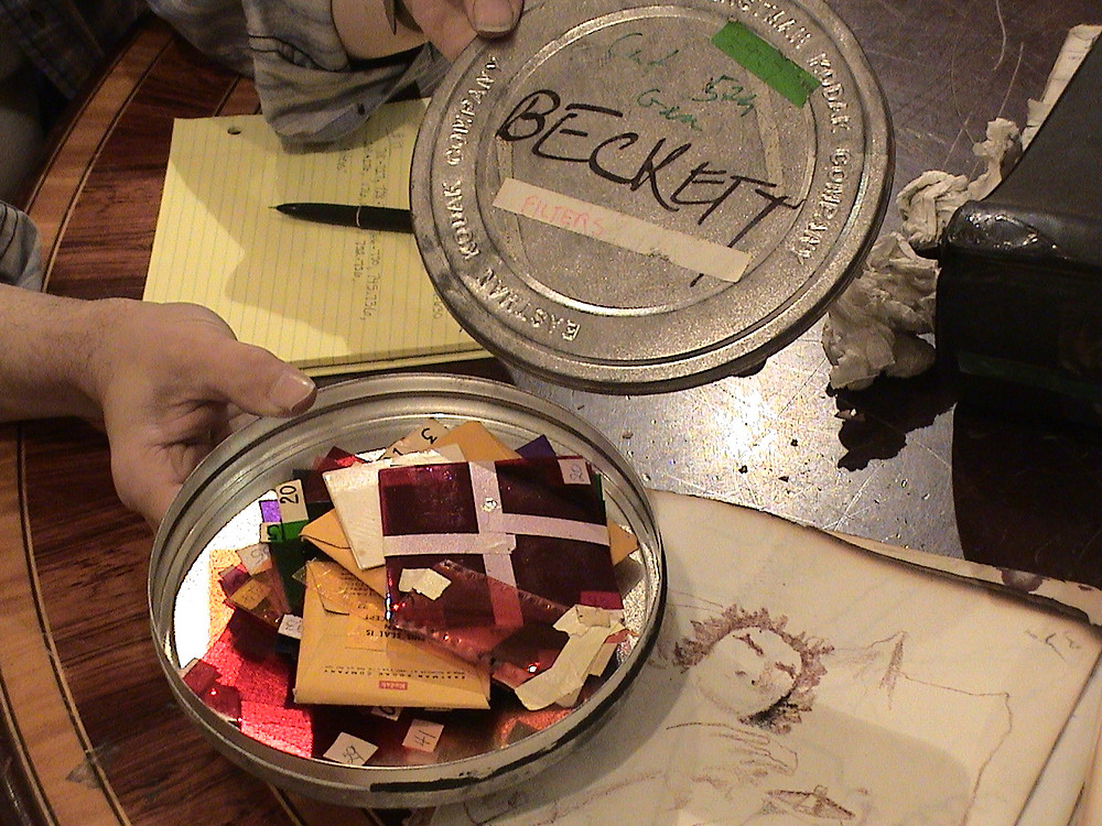 "One of Adam's film cans with filters, labeled ""Beckett"" and ""filters""."