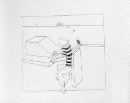 "Drawing of artist at animation desk, drawing. From ""Early Animations"""