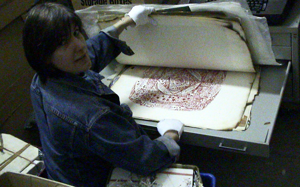 Me, 15 years ago, looking at one of Adam's many prints.