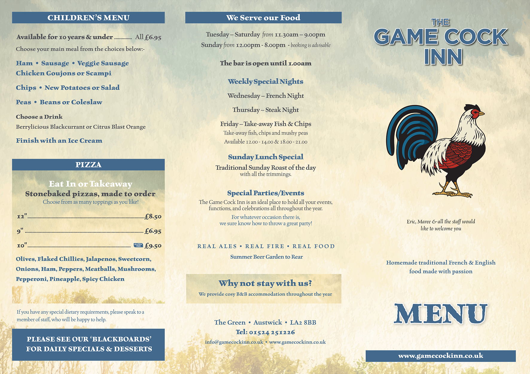 Game Cock Menu -Design & Print