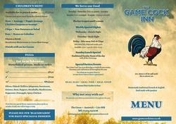 Game Cock Menu -Design & Print