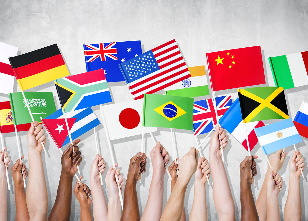 Diversity of Hands Holding National Flag