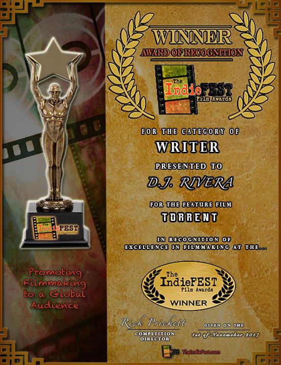 Indiefest Awards Writer Cert