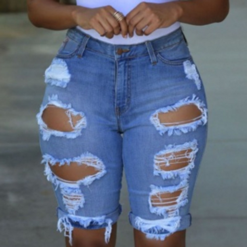 Hollow-out Denim Shorts