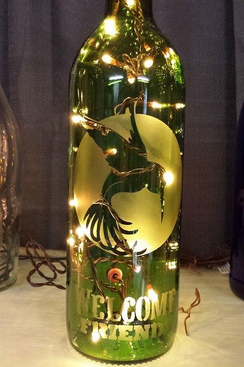 Lighted Green Wine Bottle