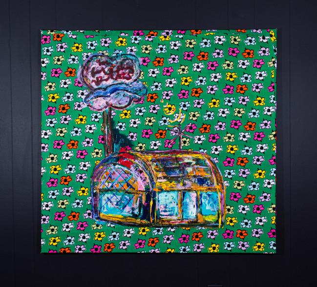 Untitled Acrylic on fabric 39 x 39