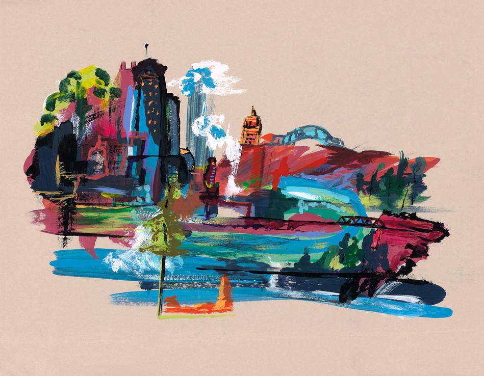 Edmonton City Acrylic on Paper  8.5 x 11
