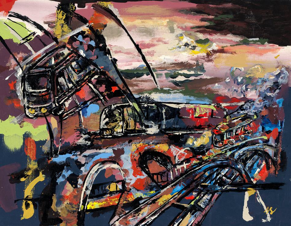 City Trains Acrylic on Canvas 11 x 14