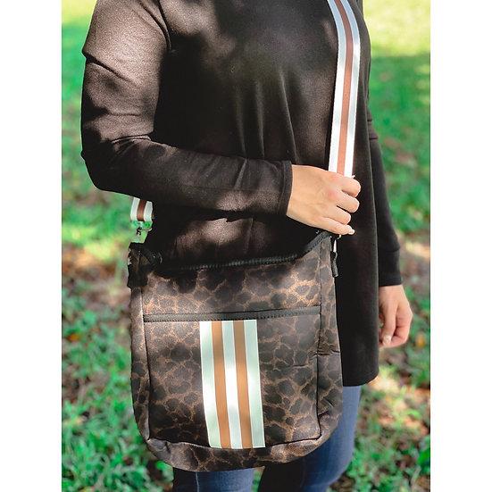 Animal Print Stripe Crossbody Bag
