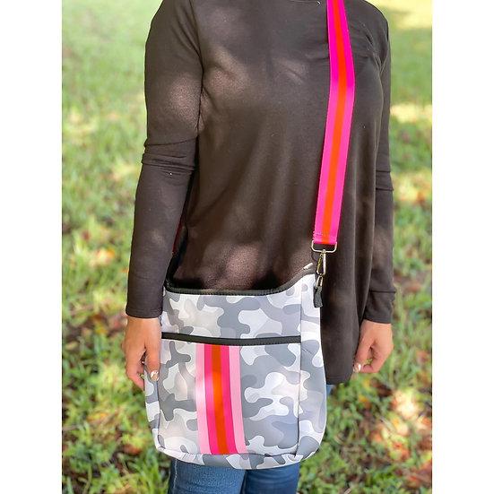 Grey Camo Stripe Crossbody Bag