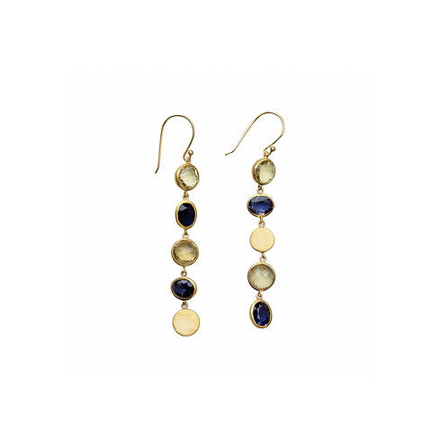 Iolite Lemon Quartz and Silver Gold Plated Nuggets