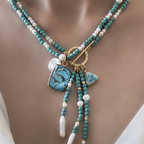 Turquoise and Pearl Lariat