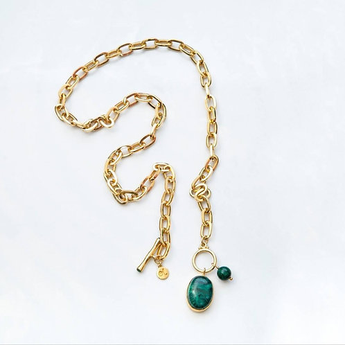 Link Chain Necklace in Malachite