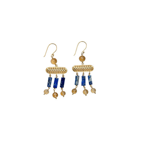 Citrine & Lapiz Lazuli Earrings