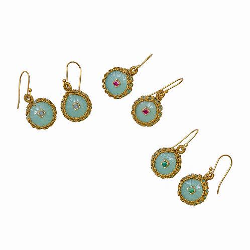Carved Semi-Precious Gemstone Earrings