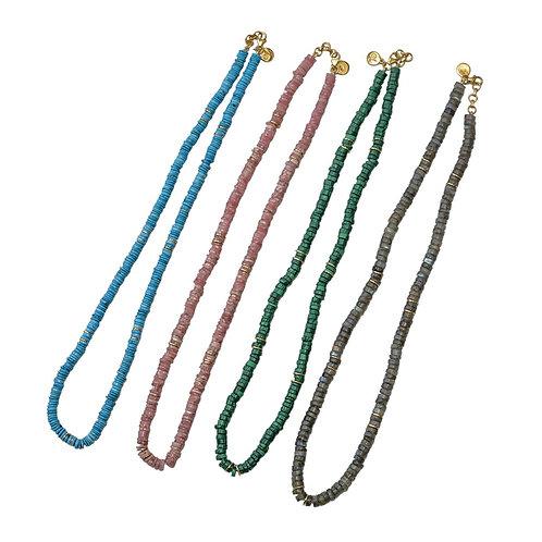 Semi-Precious Disk Necklaces