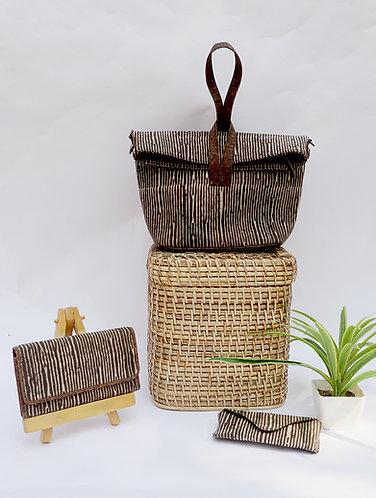 Vegan Leather and Dabu print Brown stripe Convertible sling