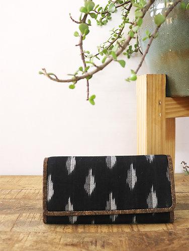Kirgiti's Vegan Leather and Black Ikat Weave Purse