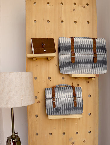 Vegan Leather and multi grey ikat weave Ipad sleeve