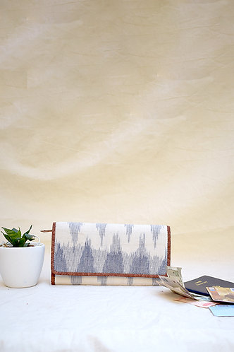 Kirgiti's Vegan Leather and Multi Grey Ikat Weave Purse