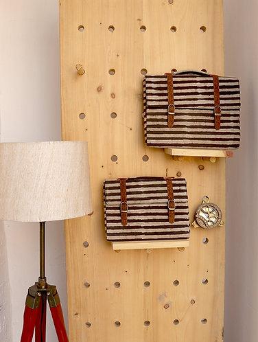 Vegan Leather and Brown stripes Dabu print  Ipad sleeve