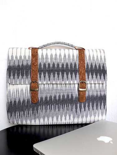 Vegan Leather and Multi grey Ikat laptop Sleeve