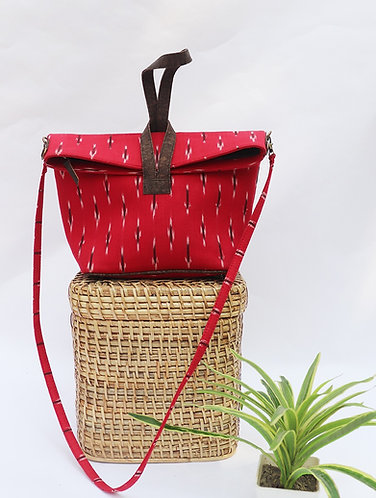 Vegan leather and Ikat Red convertible sling