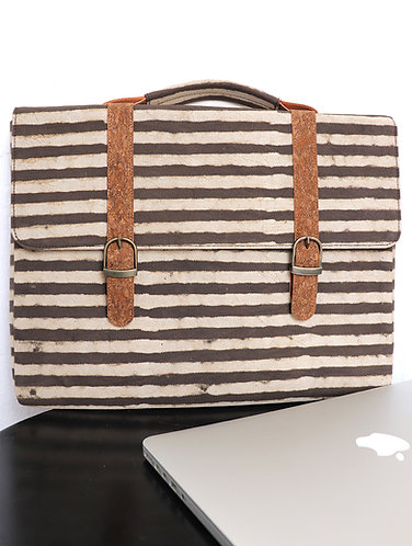 Vegan Leather and Brown stripes Dabu print Canvas laptop sleeve