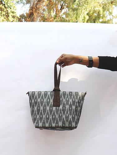 Grey Ikat and Vegan leather convertible sling