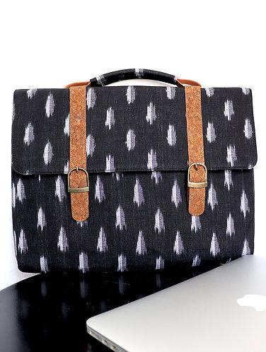 Vegan Leather and Black Ikat  laptop Sleeve