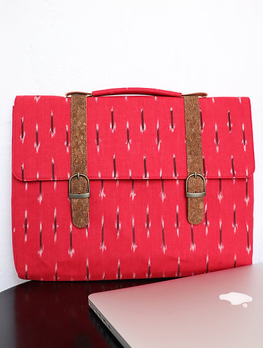 Vegan Leather and Red ikat weave Laptop Sleeve