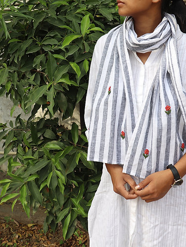 Grey stripe ' Hand Embroidered ' Linen Stole
