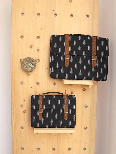 Vegan Leather and Black ikat weave Ipad sleeve