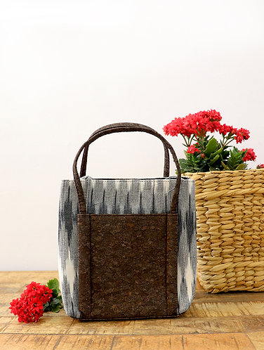 Vegan Leather and Grey Ikat Hand Bag cum sling