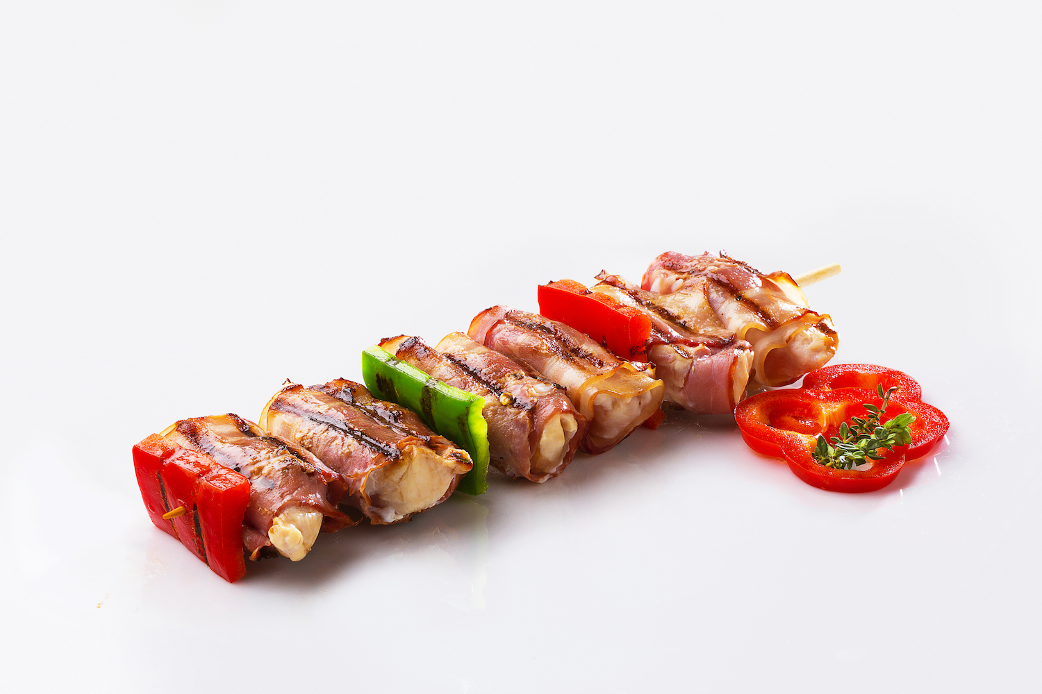 Chicken and bacon skewer