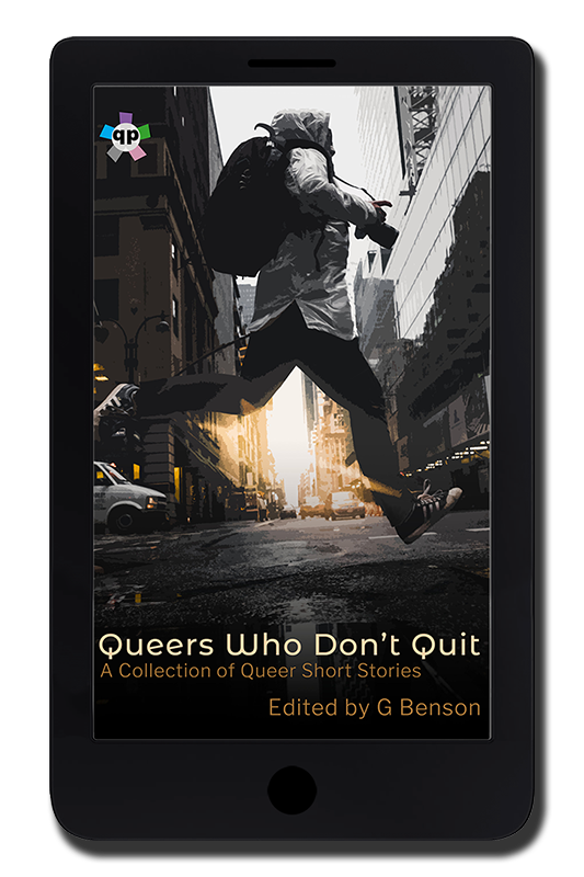 "The cover of Queers Who Don't Quit, displayed on the screen of a digital reader. The cover image is a person in a raincoat with a black backpack, black jeans, and black converse running across a nearly empty road. There are high rise buildings on both sides of the road. Most of the image is in greyscale, but there is yellow where the sun is just rising or setting on the horizon between the buildings. The text at the bottom reads: ""Queers Who Don't Quit"", ""A Collection of Queer Short Stories"", ""Edited by G Benson"". The Queer Pack logo is in the top left corner (lowercase ""qp"" in a white circle, with five coloured squares coming out from the circle like an asterisk)."