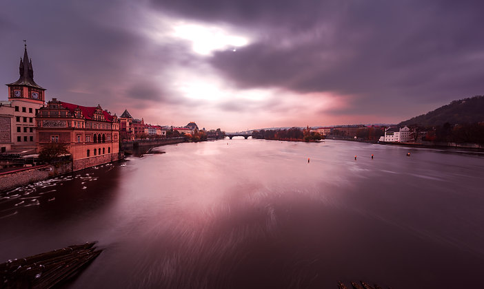 Sunrise at Vlatva river, Prague, Czech Republic