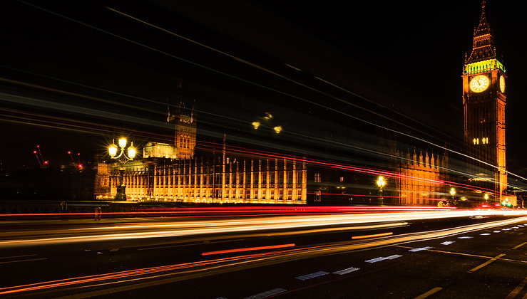 Light Trails At Big Ben, London