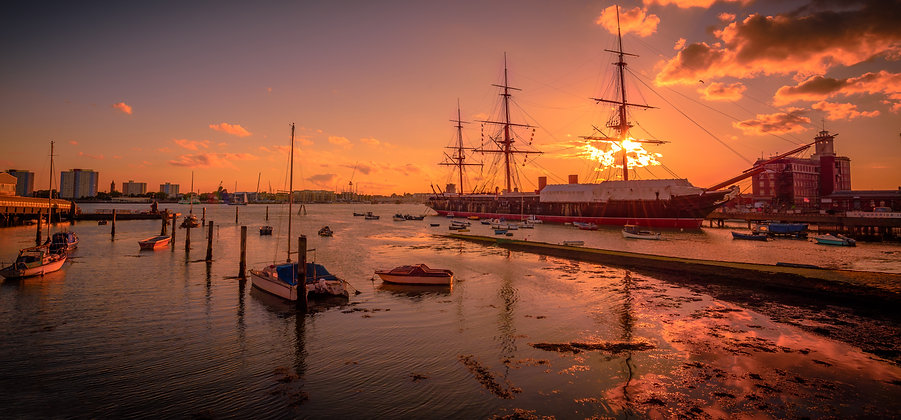 Sunset At The Dock, Portsmouth, England