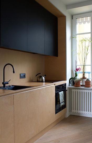 Cuisine architecture design  interieur Vannes Bretagne Family Cabins Inspire bois contreplaqué parquet