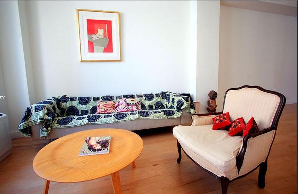 Claude Grunitzky's apartment New York Sylvie Guieysse pillows