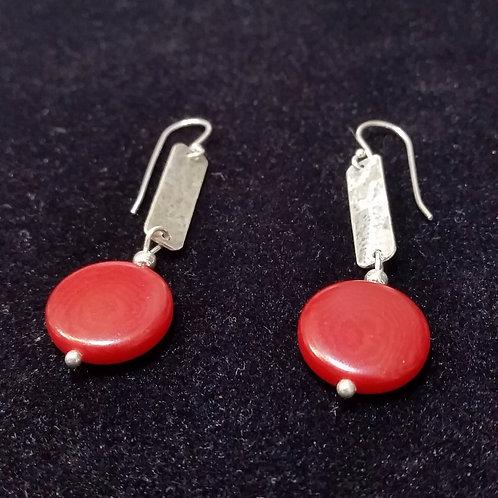 Hammered earrings in silver