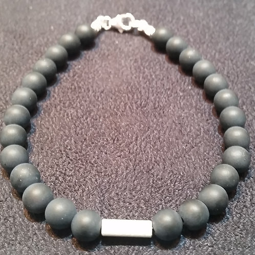 Unpolished Onyx Bracelet with silver