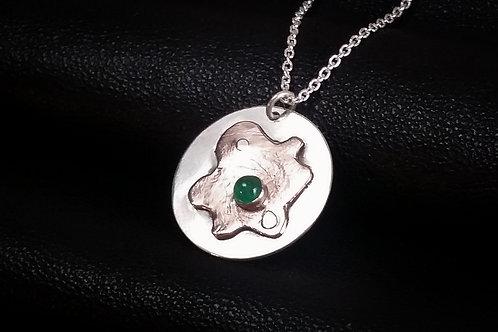 Silver and Copper with Emerald Fusion Pendant